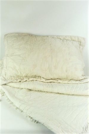 Cream Cotton Embroidered Throw