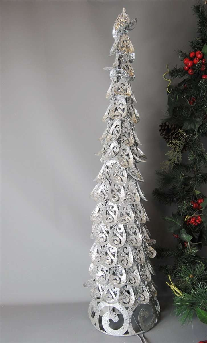 Metal Christmas Tree.Christmas Tree Ornament Decoration Light Up Silver Metal Swirl Electric Freestanding