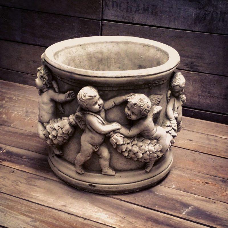 Cherub design plant pot