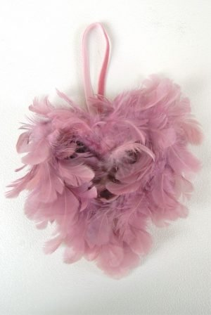 Pink feathered hanging heart
