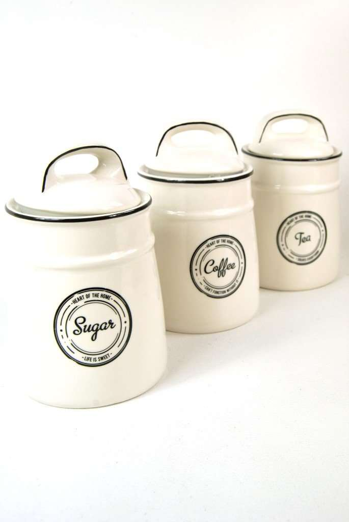 Tea Coffee Sugar Canisters Containers Set Of 3 In A Vintage Black And Antique White Style