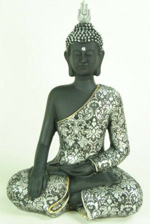 Silver Black Sitting Buddha