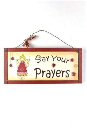 Angel Plaque Prayers Wooden
