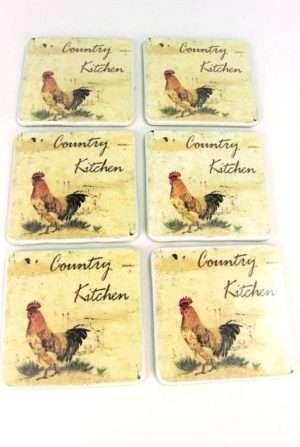 Chicken Rooster Coaster Set