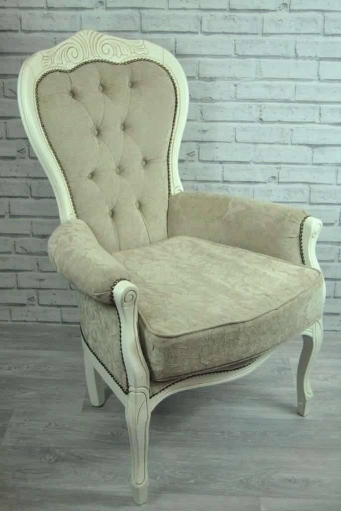 Cream Carved Ornate Armchair