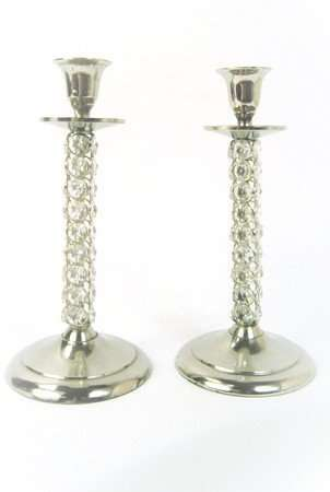 Silver Glass Candlestick Set