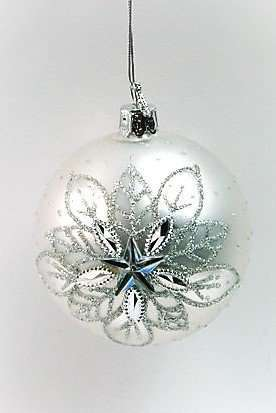 Christmas Silver Diamante Baubles