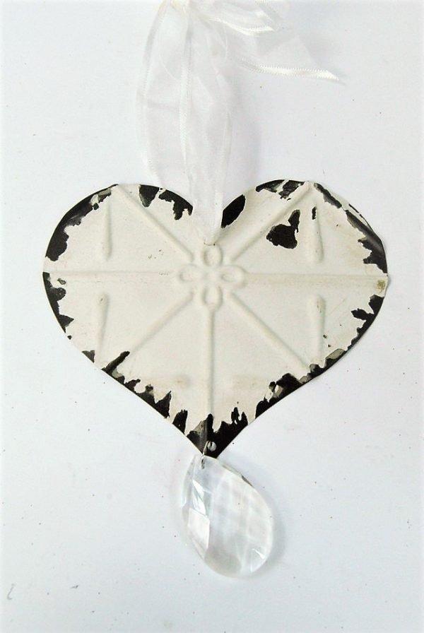 Cream Metal Hanging Heart