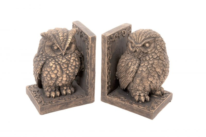 Owl Bookends Antique Gold