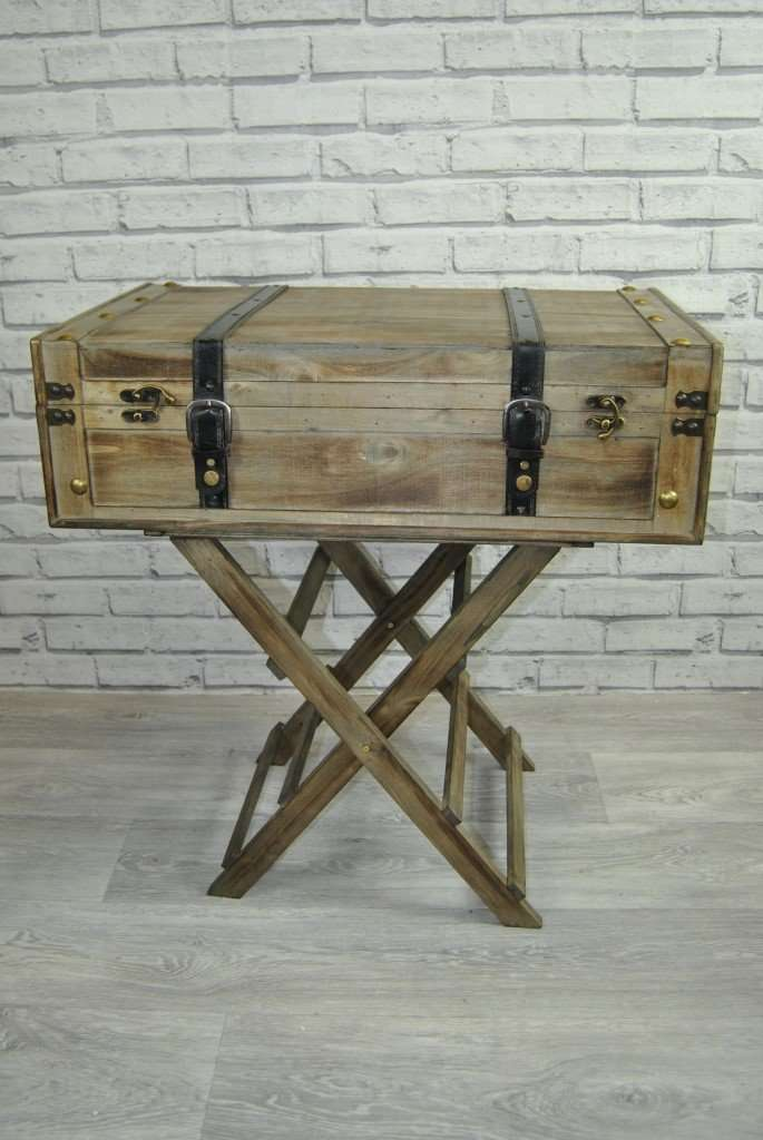 Retro Style Container Bedside Table: Wooden Storage Suitcase On Stand Side Table Console Unit