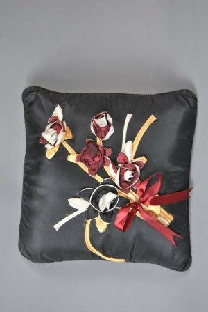 Black Satin Handcrafted Cushion