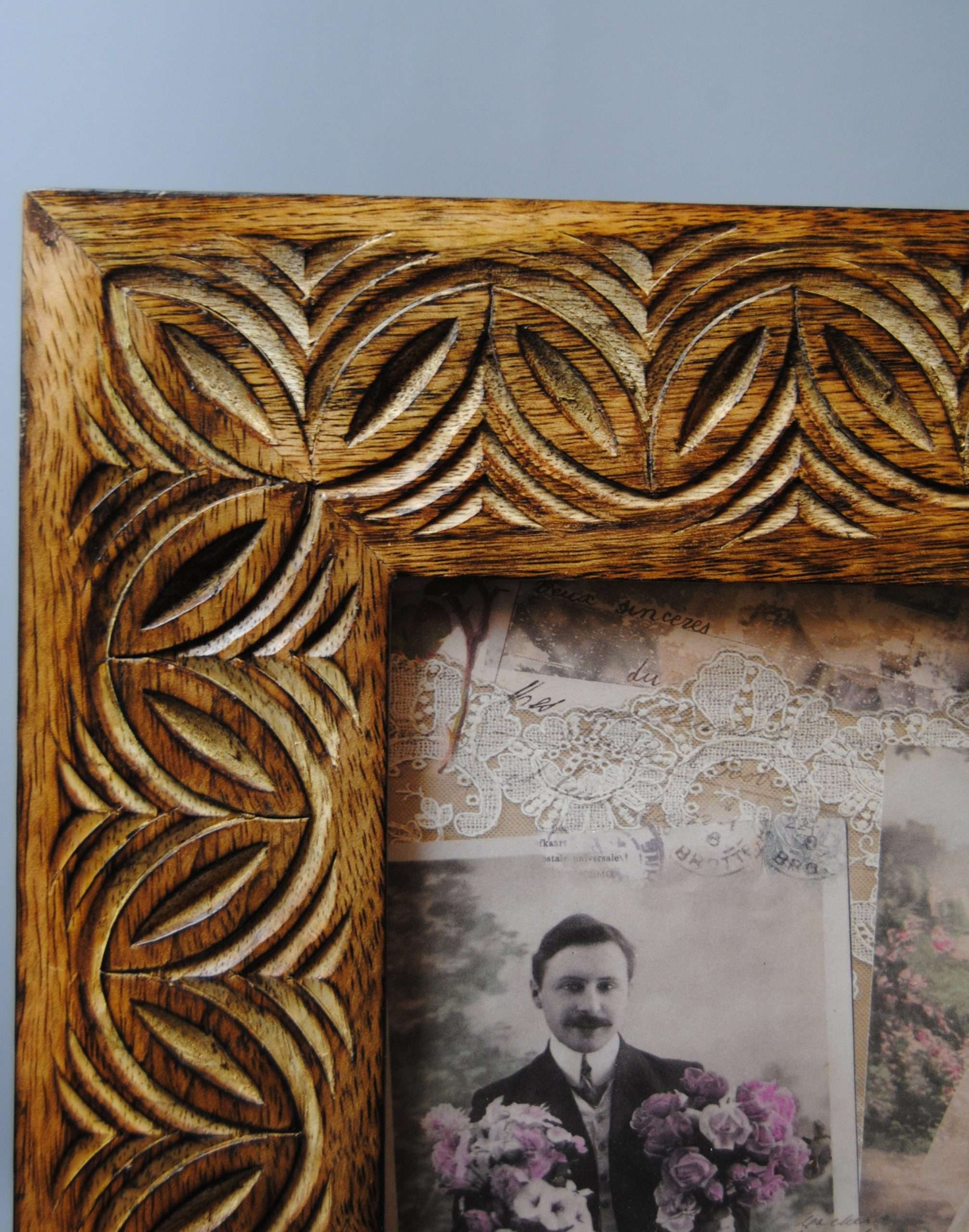 Large Mango Wooden Brown Carved Photo Picture Frame 8X10 ...