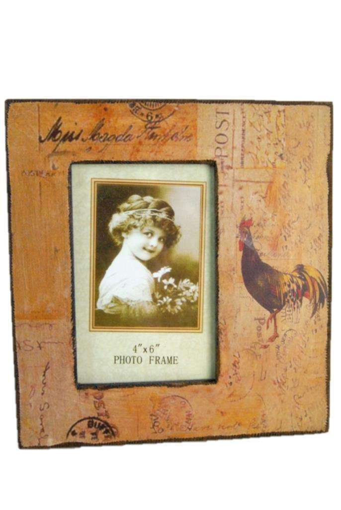 """Photo Picture Photograph Frame 4 x 6/"""" Vintage Rustic Chicken /& Postal Design"""