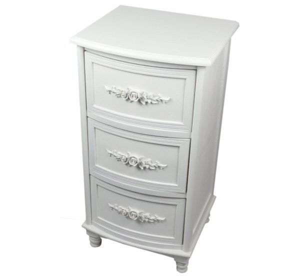 White Shabby Chic French style 3 Drawer Bedside Lamp Telephone Cupboard unit
