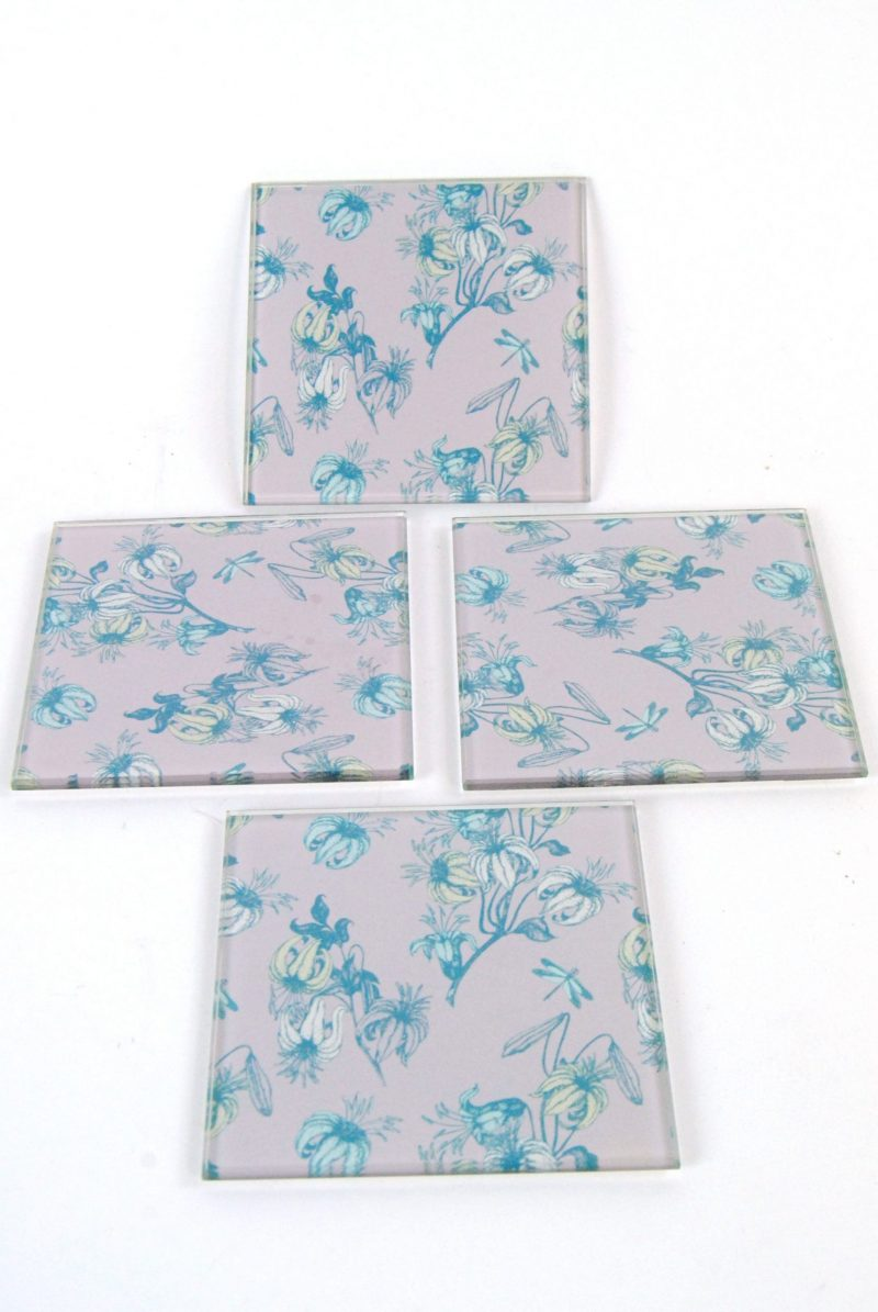 Coasters Flower Dragonfly Pattern