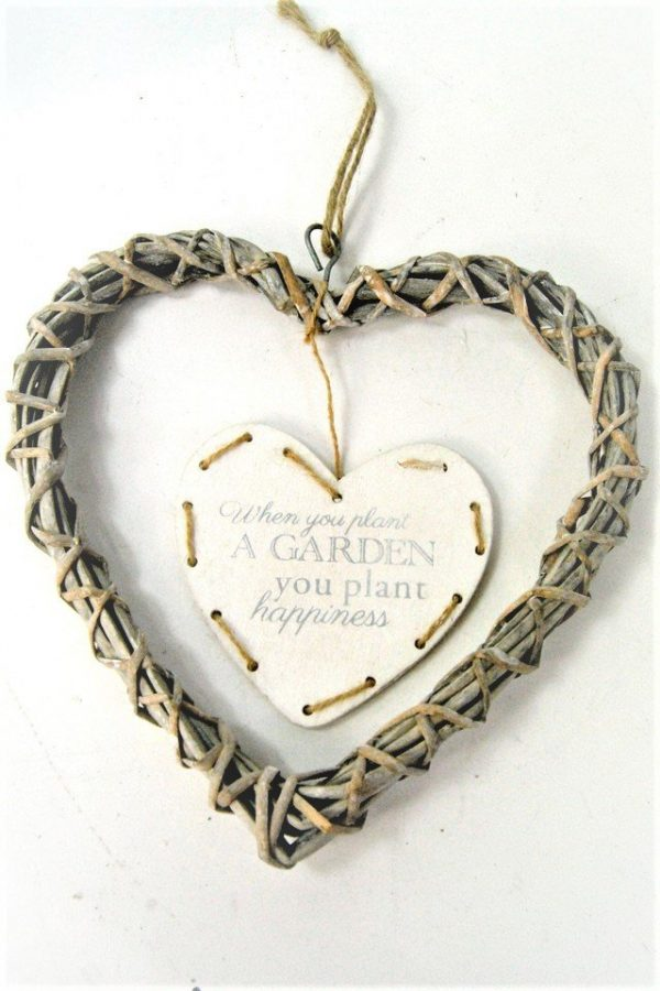 Heart Rustic Hanging White Willow Heart