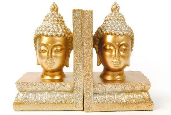 Buddha Bookends Gold Glitter