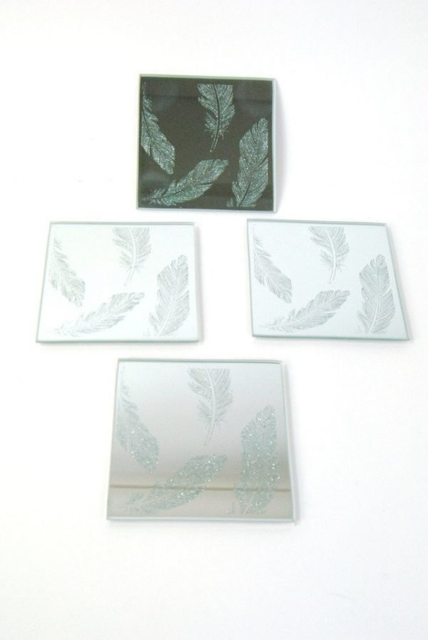 Silver Mirrored Coasters Set
