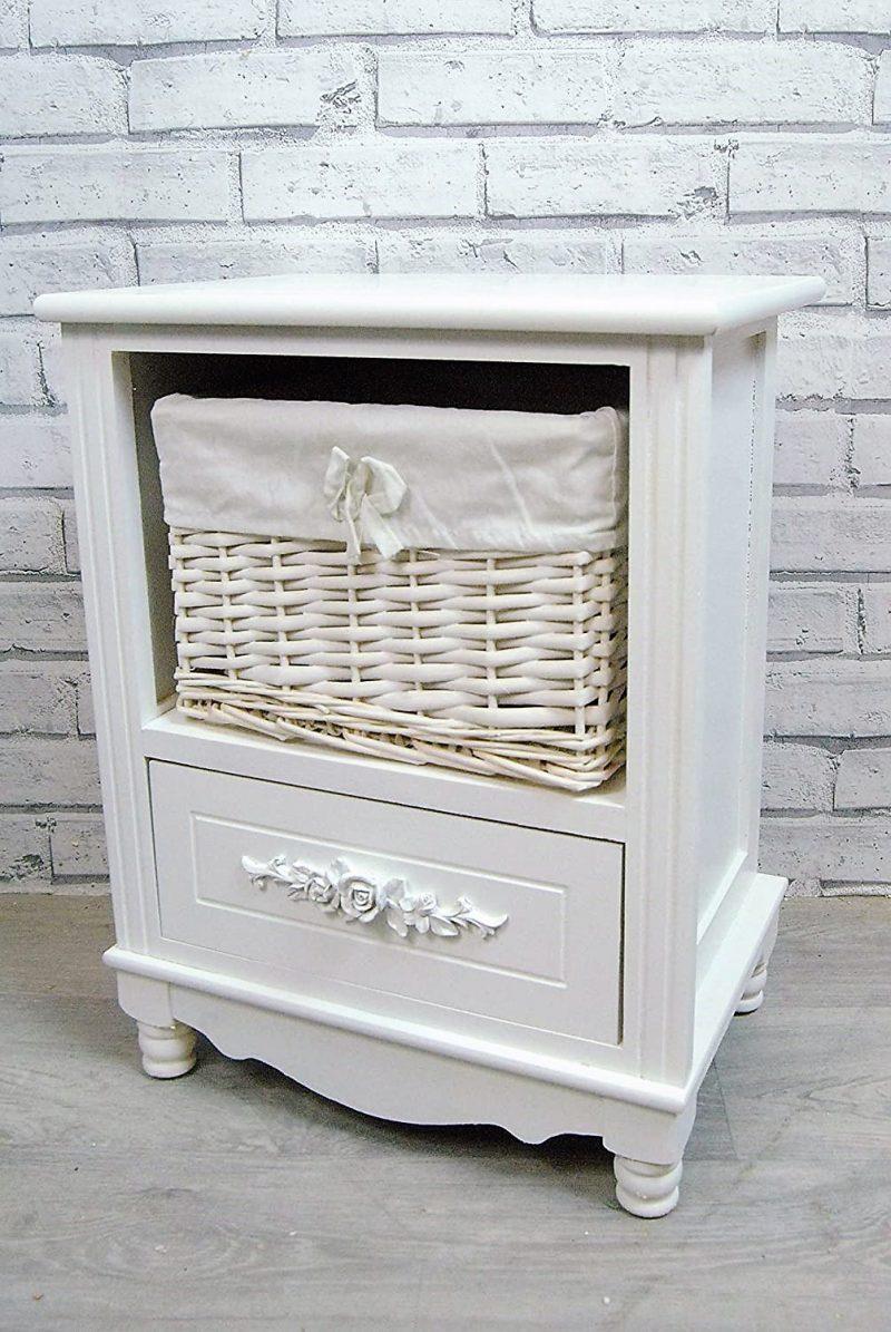White Bedside Basket table