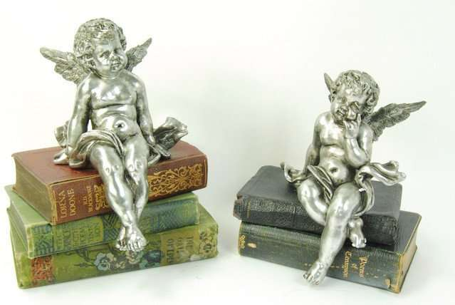 Silver Sitting Cherub Ornaments
