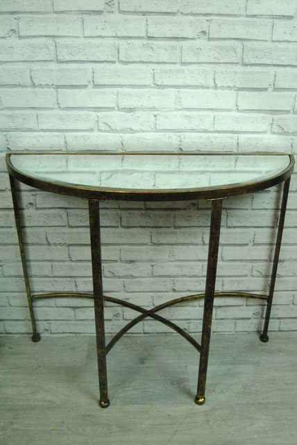 Mirrored Half Moon Table