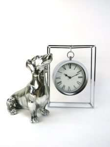 Silver Mantle Fob Clock