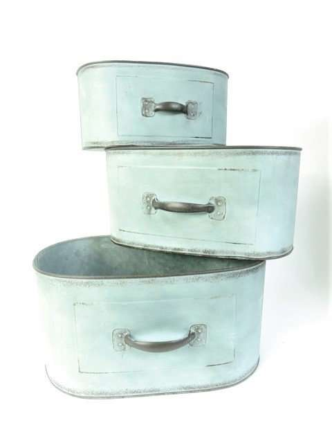 Planters Metal Green Oval