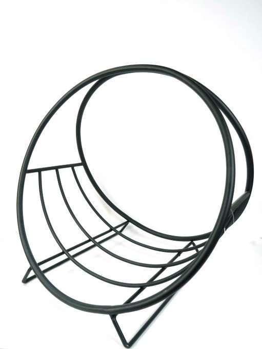 Black metal wood basket