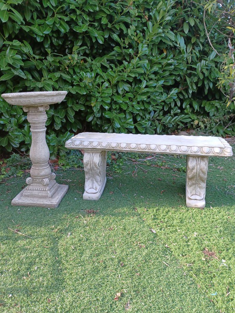 Garden Bench and Bird Bath Stone