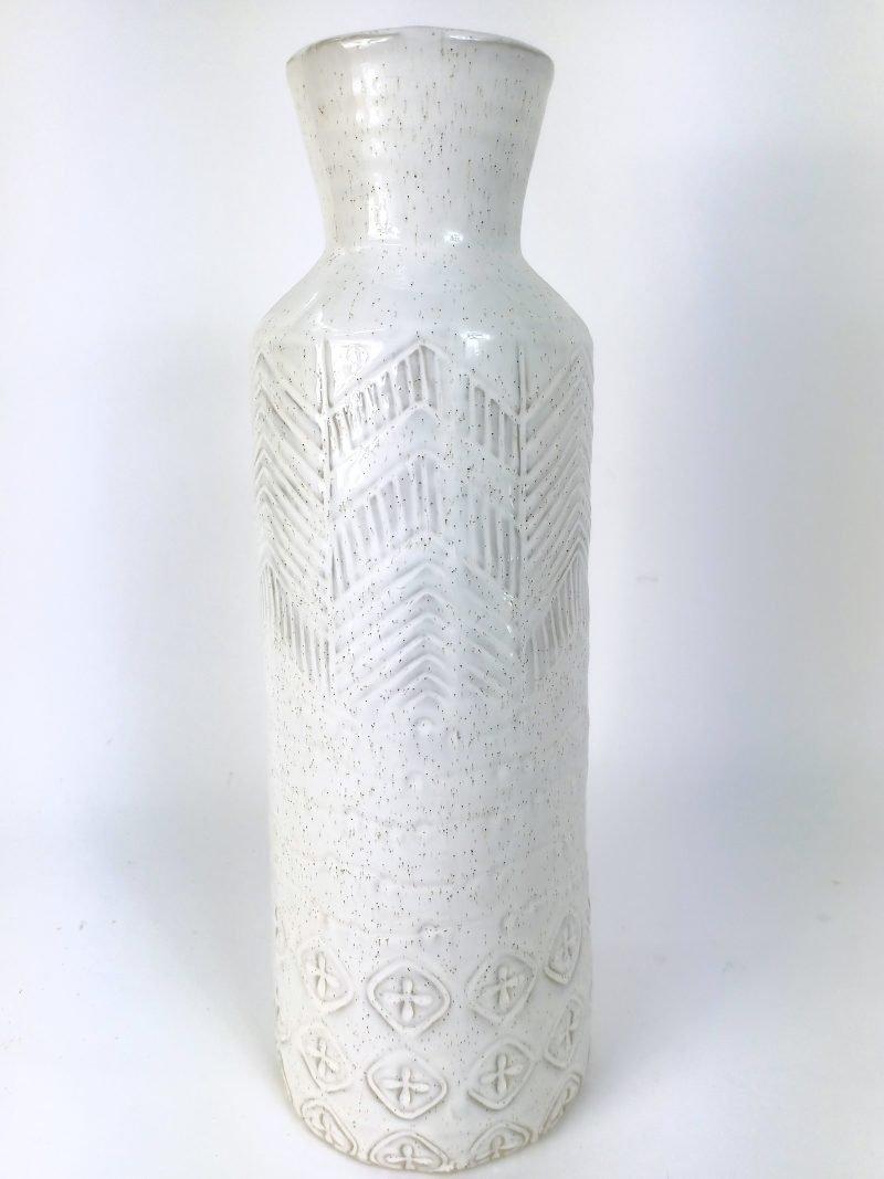 Tall Stone Antique White Vase